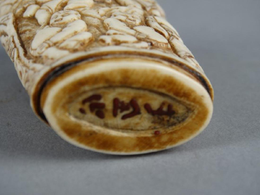 Highly Carved Chinese Bone Snuff Bottle - 3