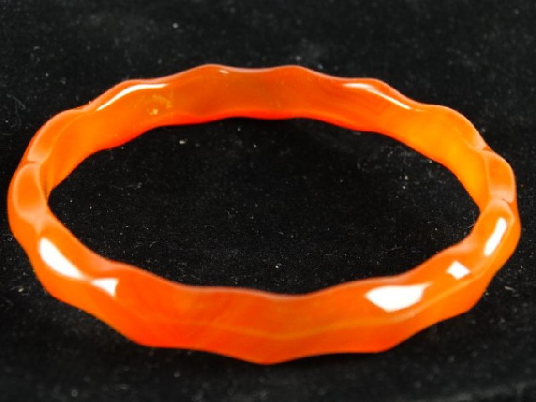 Highly Carved Agate Bangle - 2