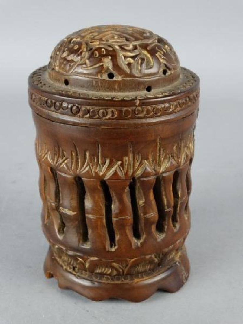 Carved Wooden Cricket Cage - 2