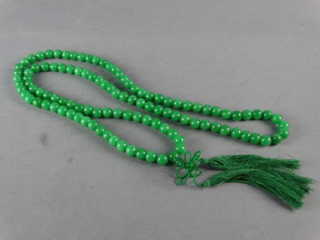Green Jade Prayer Bead Necklace