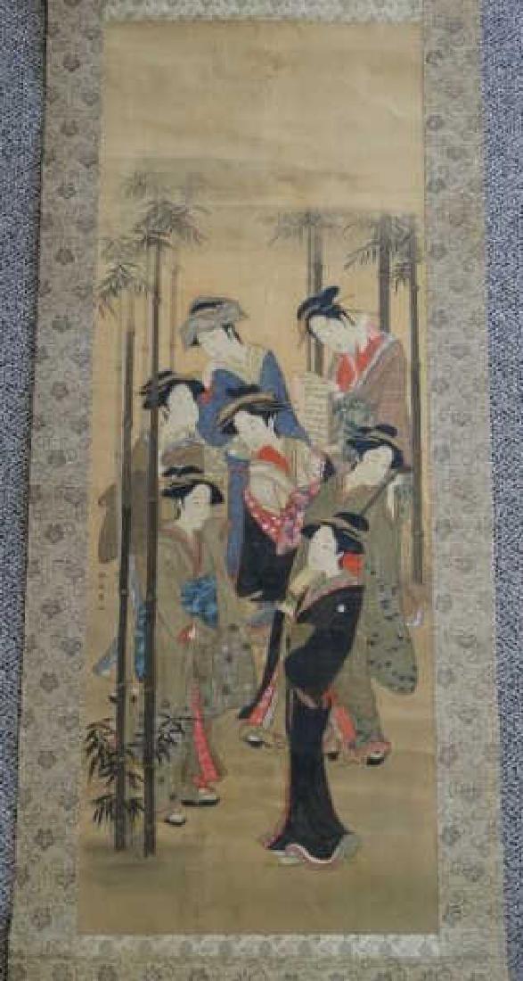 Japanese Scroll Painting - 7 Geishas