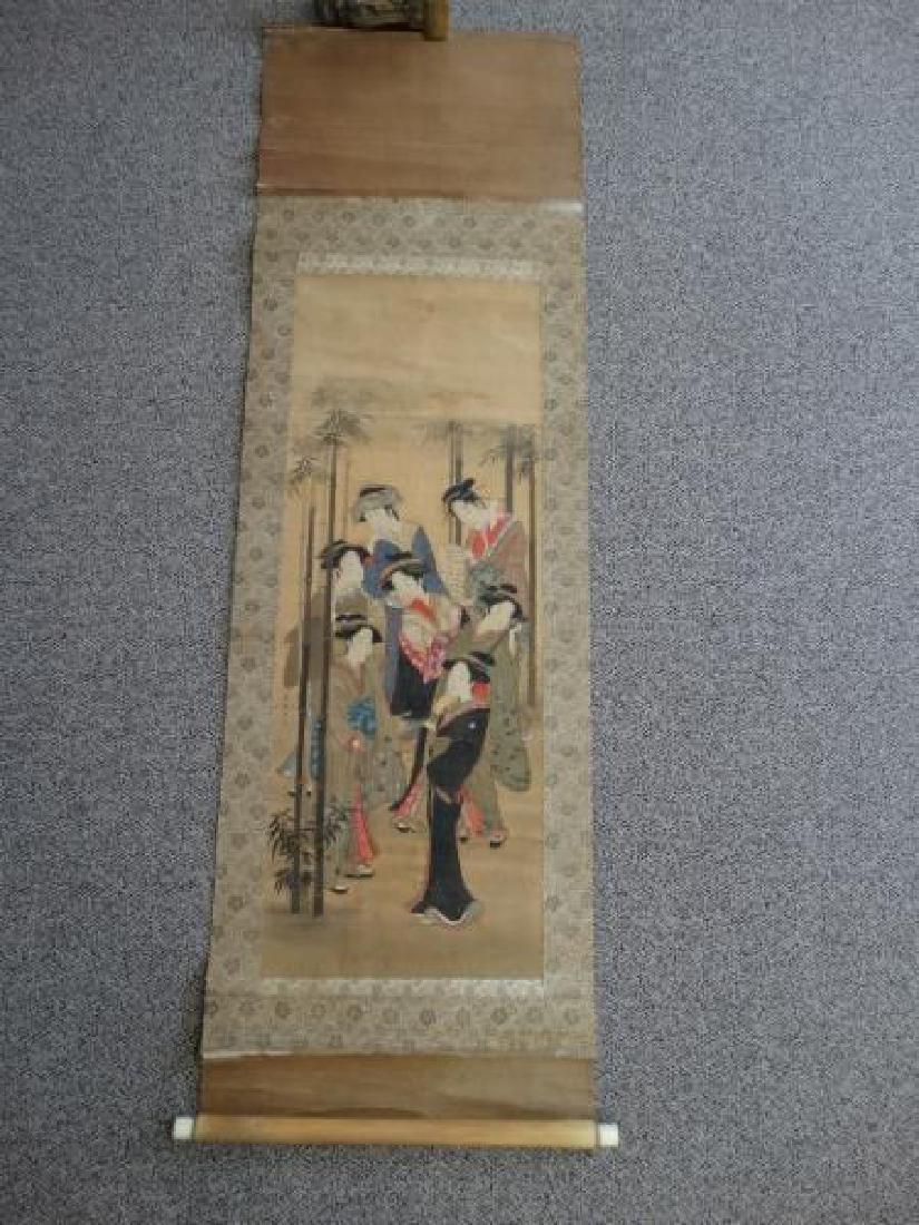 Japanese Scroll Painting - 7 Geishas - 2