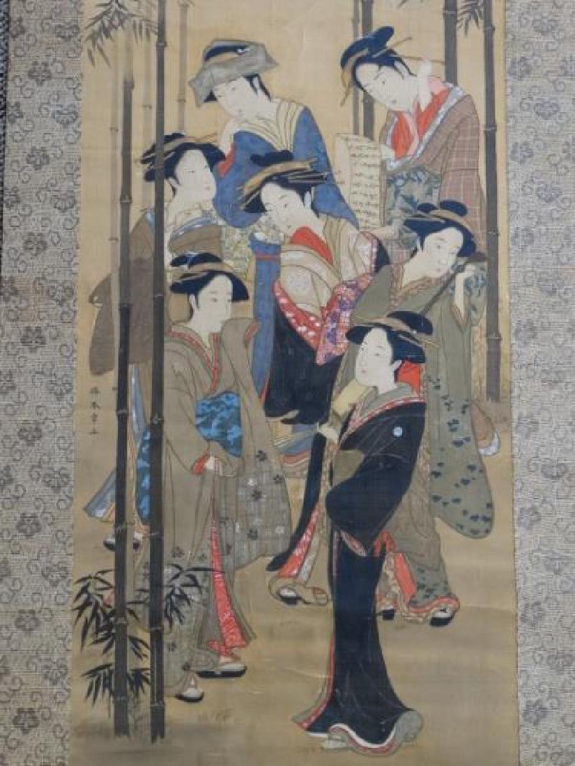 Japanese Scroll Painting - 7 Geishas - 3