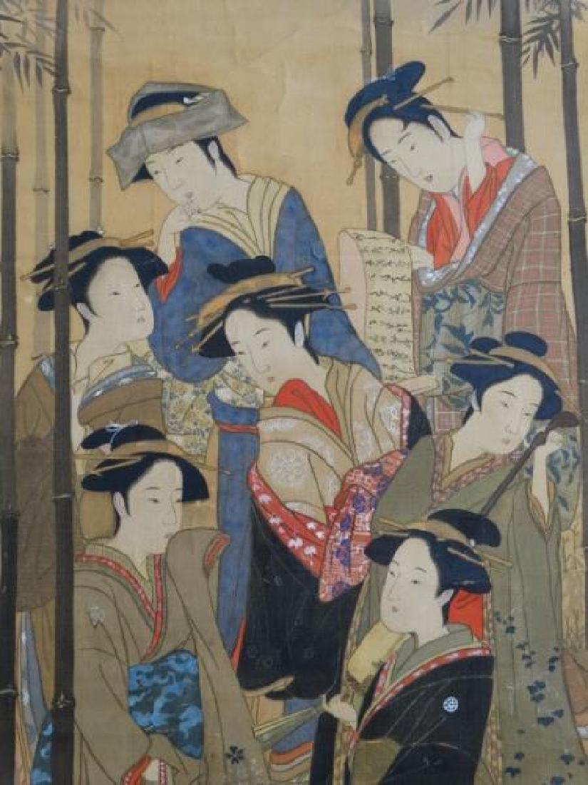 Japanese Scroll Painting - 7 Geishas - 4