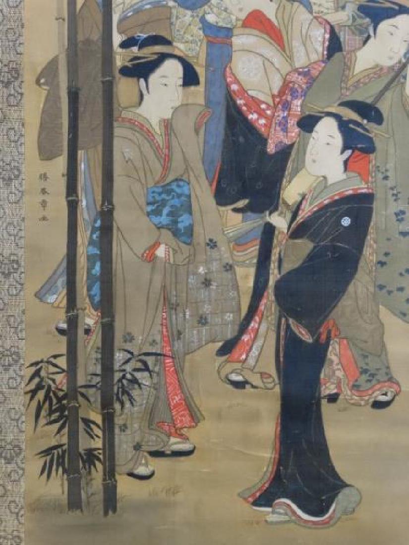 Japanese Scroll Painting - 7 Geishas - 5