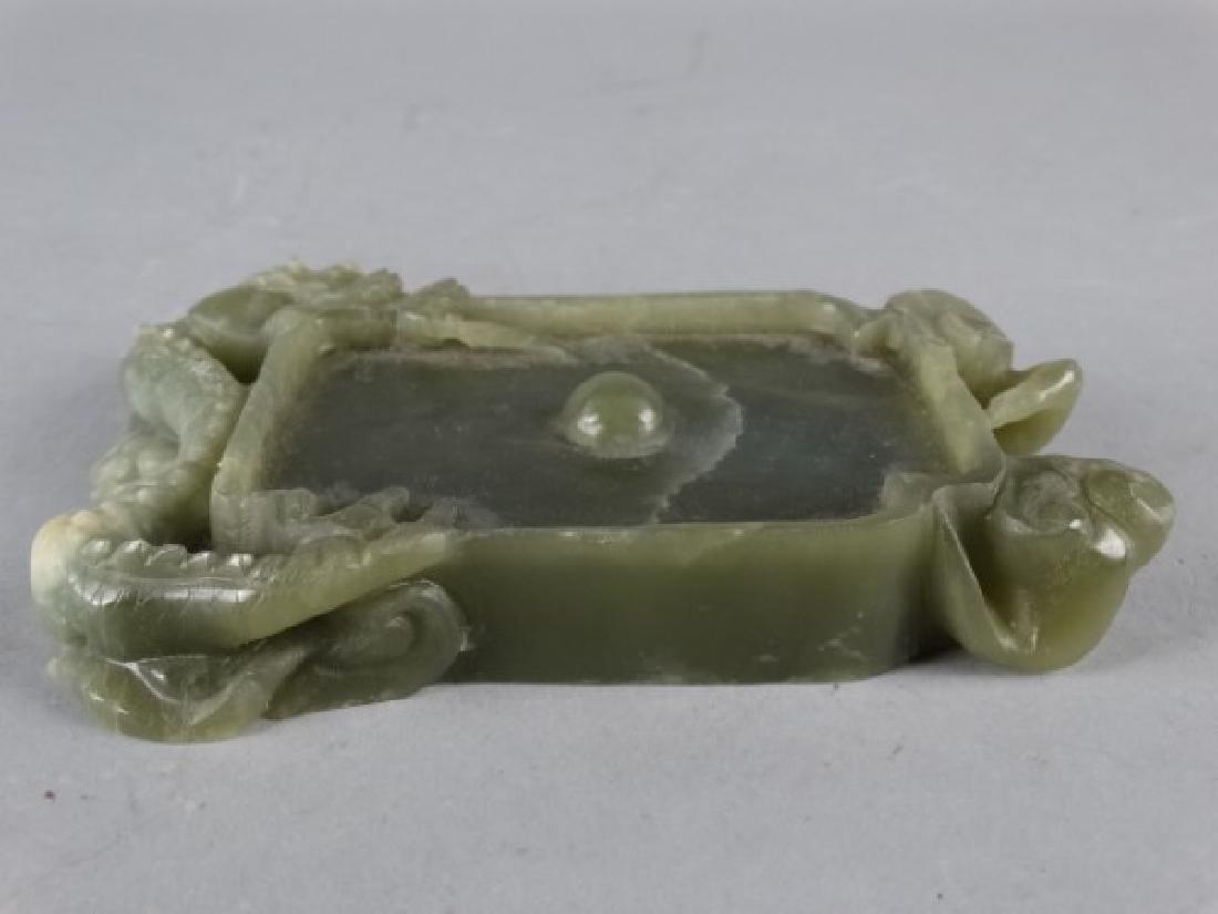 Carved Jade Dragon Brush Washer