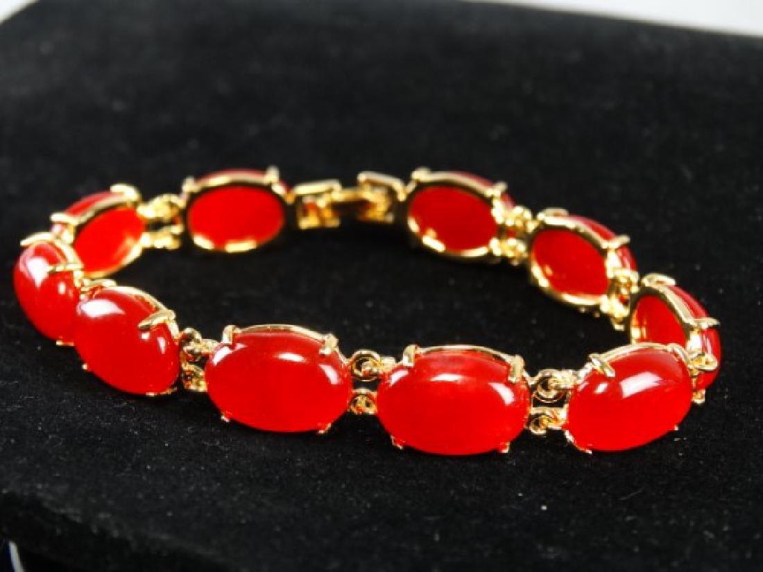 Orange Jade Bracelet - 2