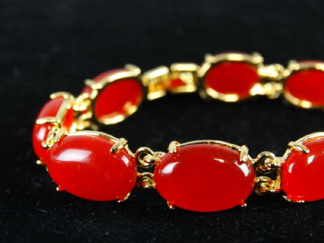 Orange Jade Bracelet - 4