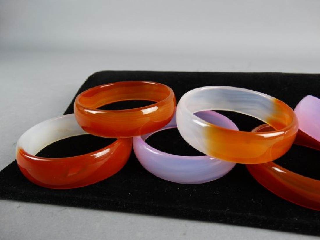 Group of 6 Carved Agate Bangles - 4