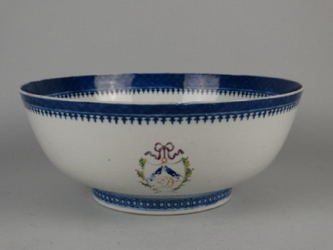 18c. Chinese Amorial Export Punch Bowl