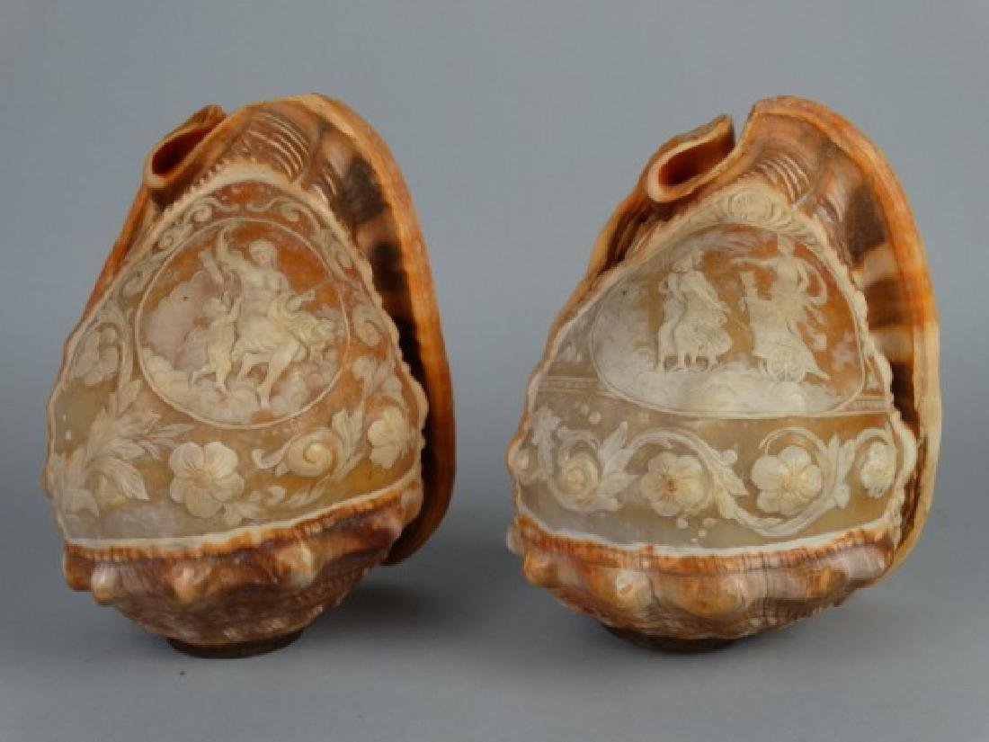 Two Victorian Carved Cameo Shells