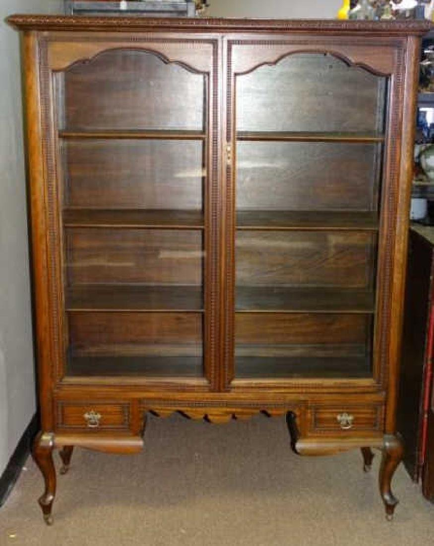 Antique Bookcase w/ 3 Shelves and Wavy Glass