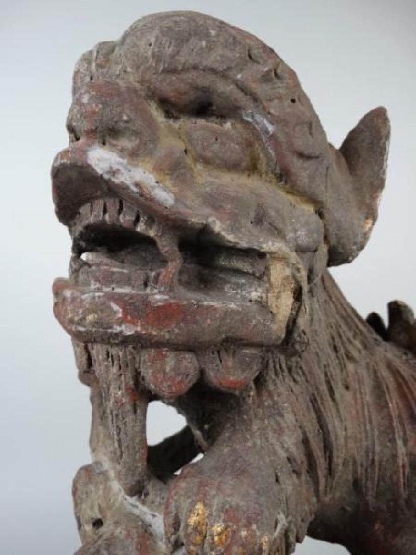 Polychrome Carved Wooden Mythical Beast - 6