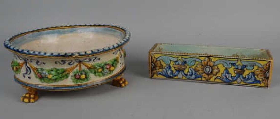 Lot of 2 Early Faience Dishes