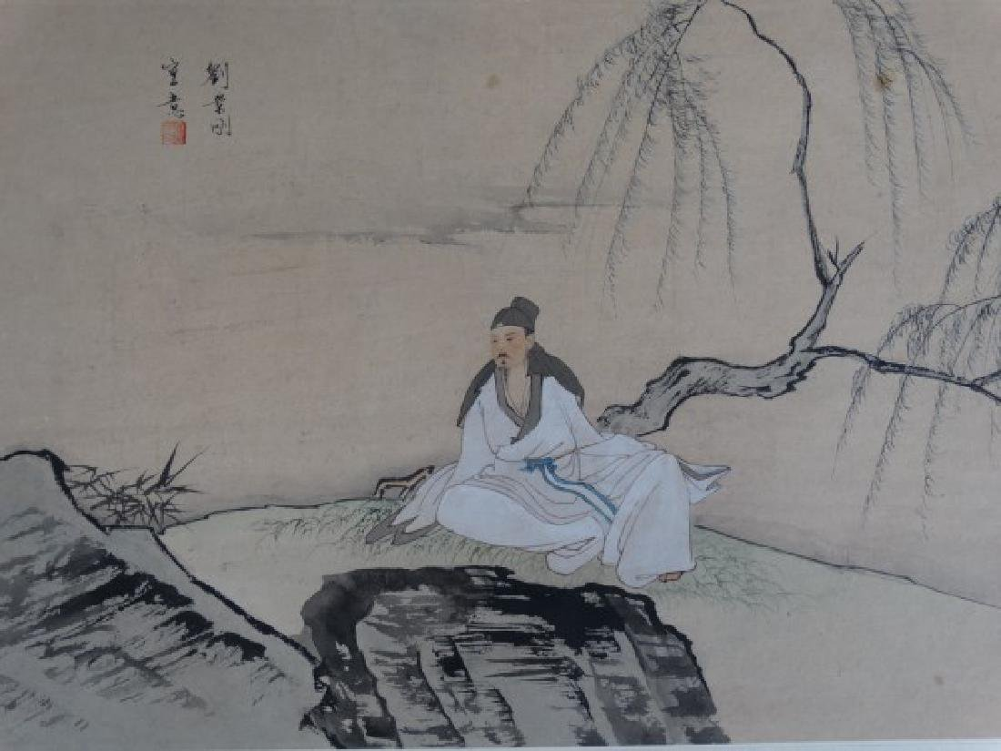 Japanese Watercolor Painting of a Man