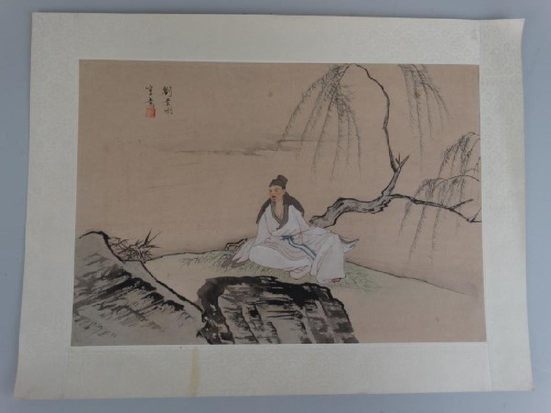 Japanese Watercolor Painting of a Man - 2