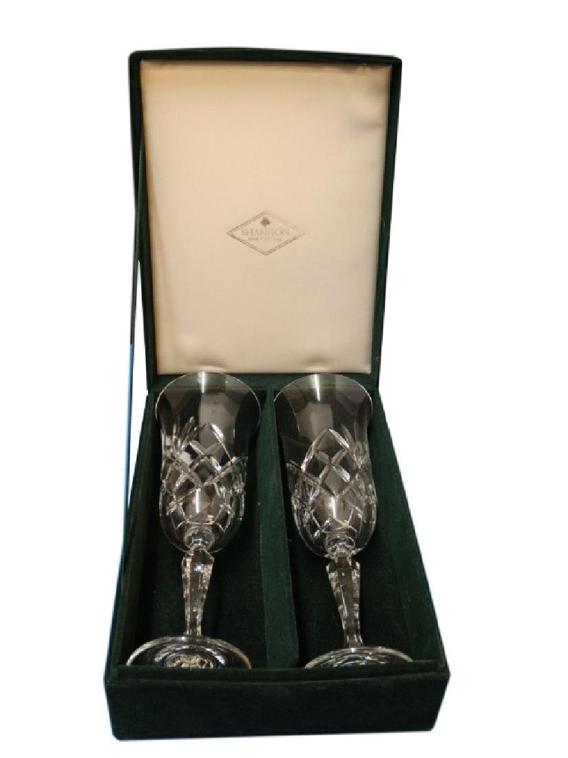 Pair of Shannon Crystal Wine Glasses w/ Box
