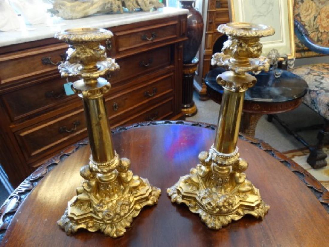Pair of Bronze Candlesticks - 2