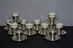 12 Pc Sterling Demitasse Set w Lenox Liners