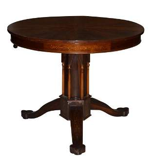 English Gothic Revival Marquetry Rosewood Table
