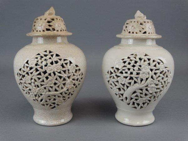 Pair of Chinese Pierced Ceramic Lidded Vessels