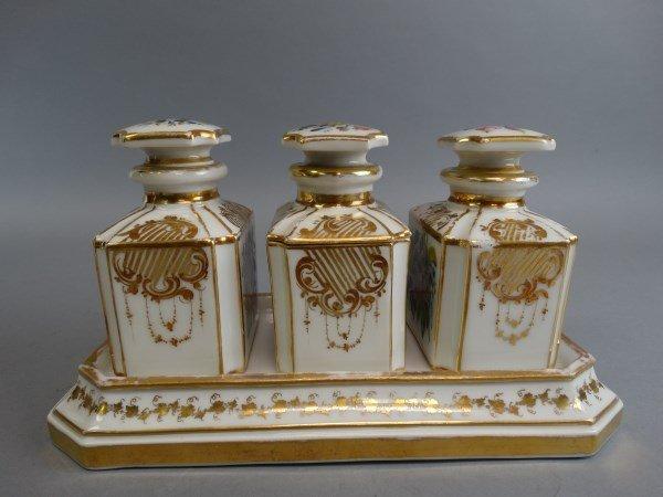 Old Paris Parcel Gilt & Polychrome Cannister Set