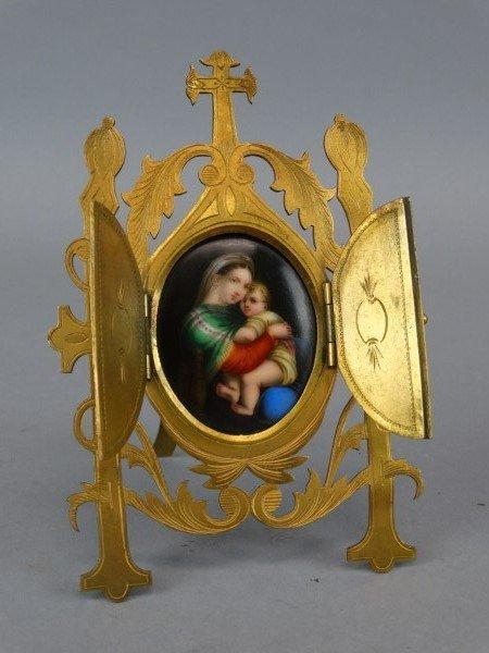 19c. Bronze Stand w/ Handpainted Porcelain Plaque