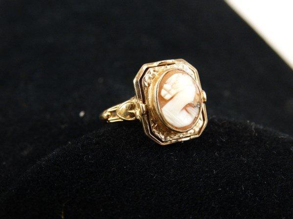 14kt. Gold & Pink Opal / Garnet Ring