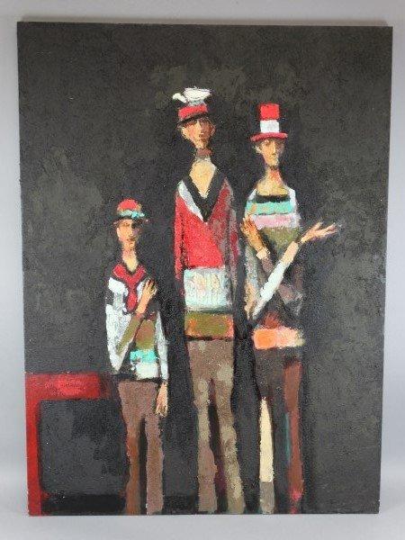 DAVID ADICKES - Oil on Canvas - 3 Figures w/Bird