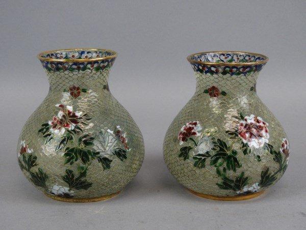 Pair of Plique-A-Jour Vases
