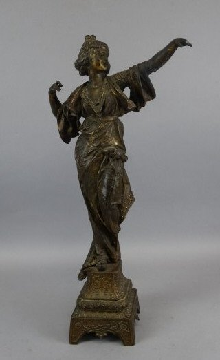 Mixed Metal Statue of Dancing Lady