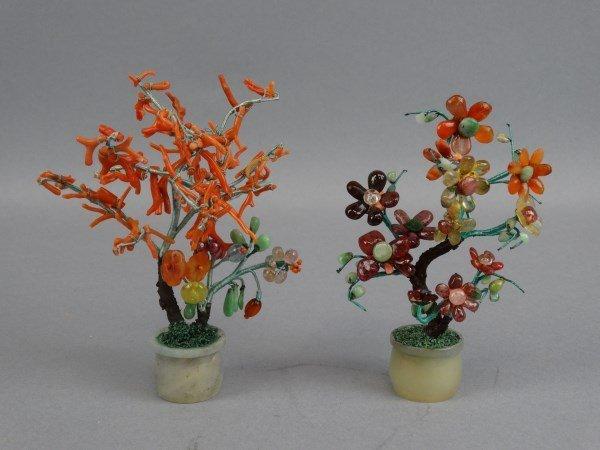 Pair of Jade & Red Coral Trees in Jade Planters