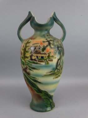 Large Japanese Satsuma Double Handled Vase