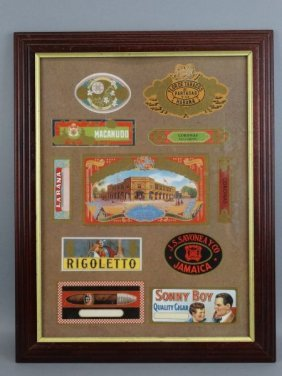 Framed Collection Of Cigar Box Labels