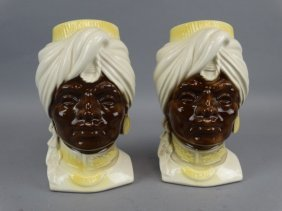 Pair Of Royal Copley Blackamoor Planters