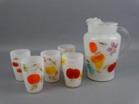 Vintage Fruit Juice Pitcher & Glass Set
