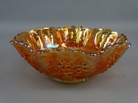 Large Imperial Glass Amber Carnival Grape Bowl