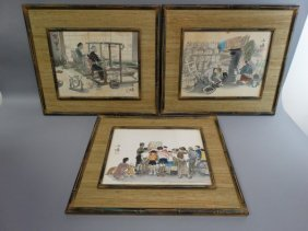 Grouping Of 3 Framed Japanese Woodblocks