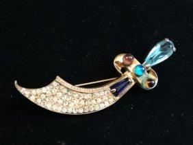 Fabulous Vintage Sterling Sword Brooch