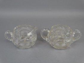 Cream & Sugar Cut Glass Set