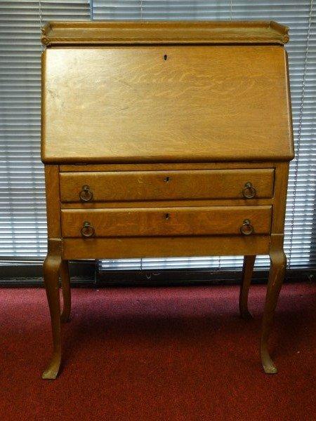 Drop Front Oak Secretary Desk
