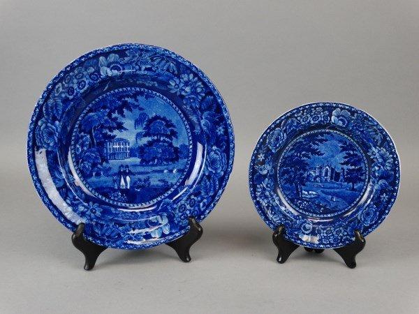 Lot of 2 Staffordshire Dark Blue Transfer Plates