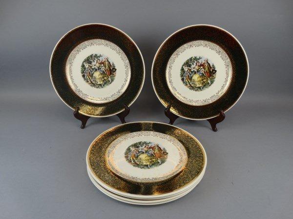 Lot of 6 Royal China 22k. Cabinet Plates