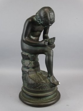 Large Plaster Spinario Thorn Picker Figure On Base