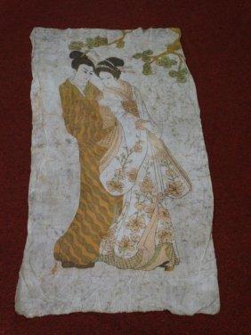 Japanese Batik Painted Textile