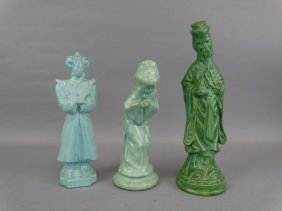 Lot Of 3 Painted Plaster Oriental Figures