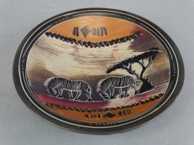 African Themed Stoneware Bowl - Zebra