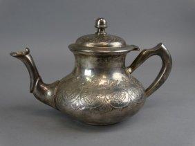 Middle Eastern Silvered Metal Tea Pot