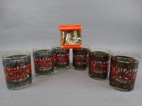 Set Of Christmas Glasses & Hummel Music Box Bell