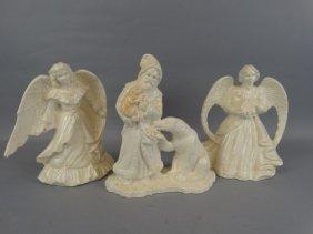 Lot Of 3 Glazed Plaster Figures